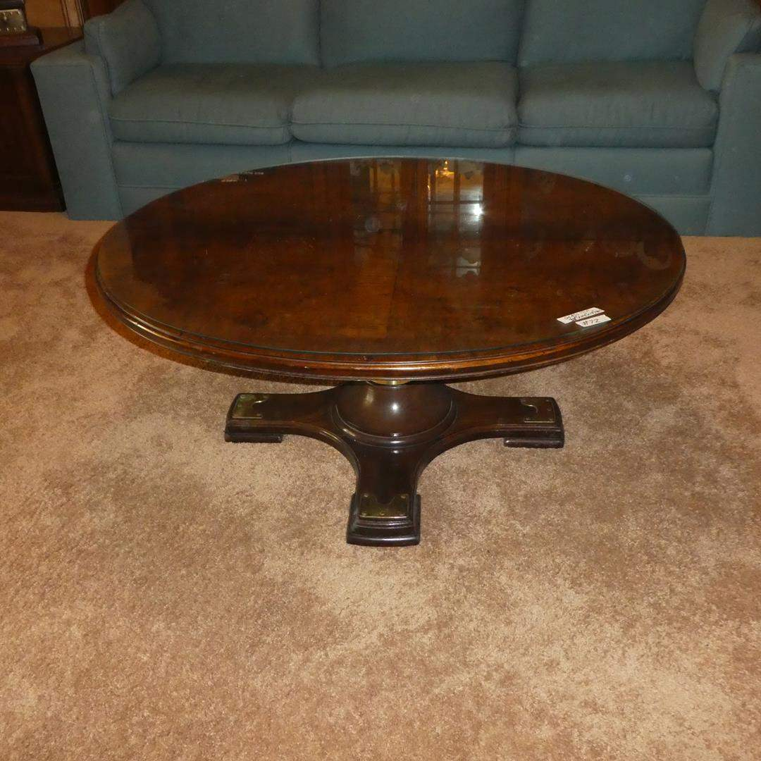 Lot # 72 - Vintage Knob Creek Adjustable Height Round Coffee Table w/Glass Top (main image)