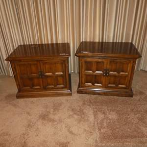 Lot # 74 - Vintage Pair Wooden End Tables w/Storage Cabinets