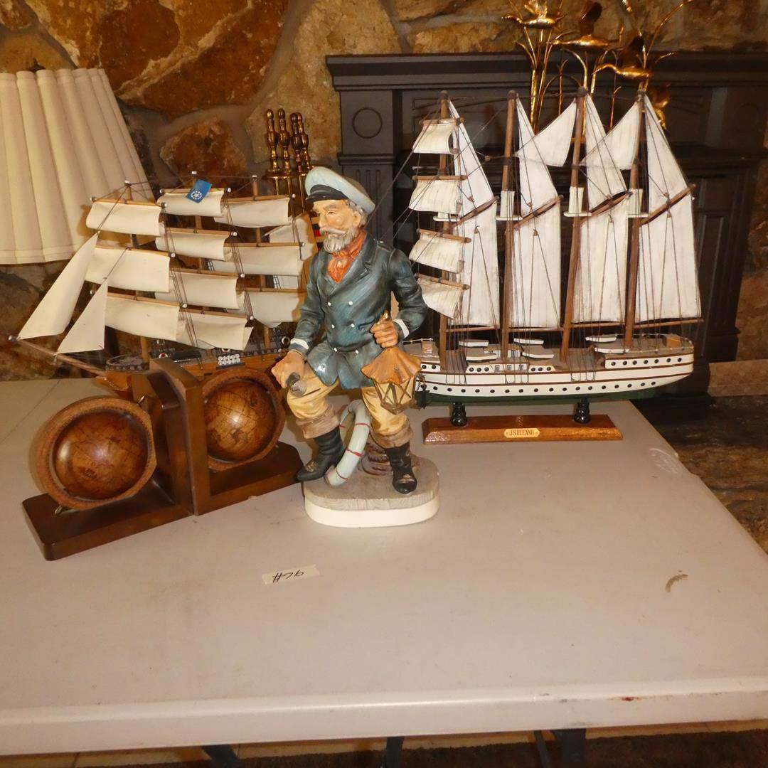 Lot # 76 - Ceramic Captain Figure, Two Model Ships & World Globe Bookends (main image)