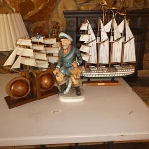 Lot # 76 - Ceramic Captain Figure, Two Model Ships & World Globe Bookends