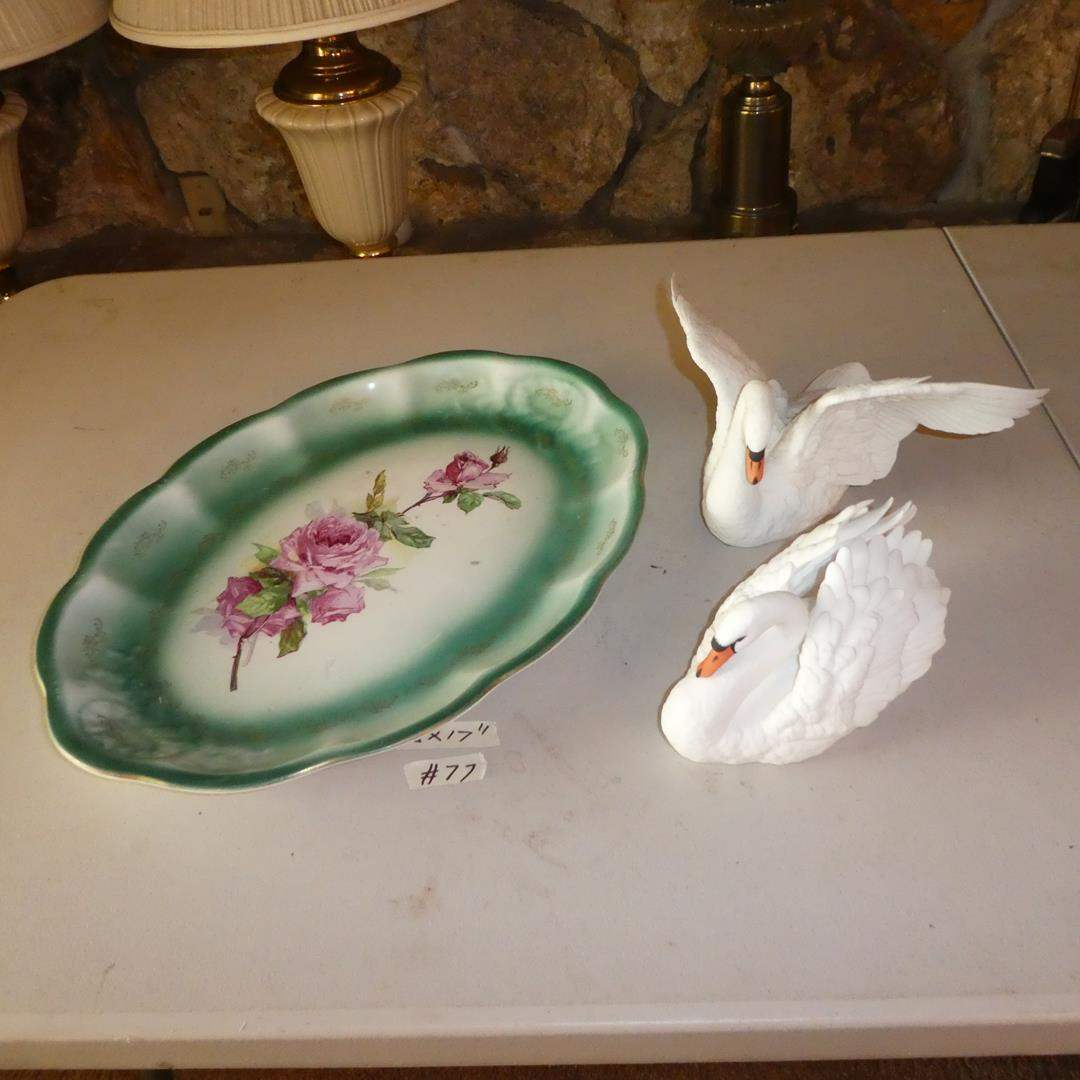Lot # 77 - Vintage Platter & Two Lenox Porcelain Swans (main image)