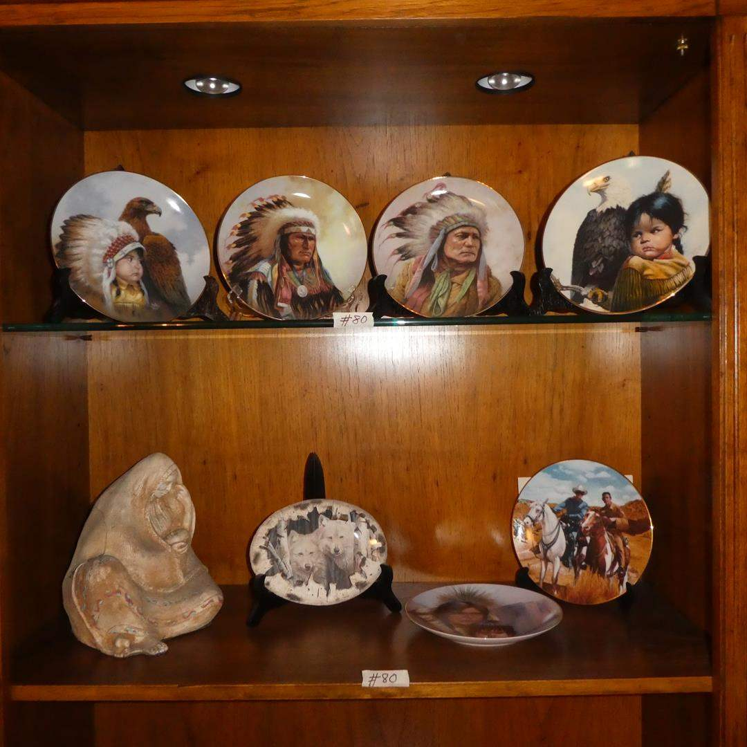 Lot # 80 - Indian Mother & Baby Ceramic Sculpture & Native American Collector Plates (main image)