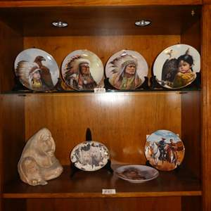 Lot # 80 - Indian Mother & Baby Ceramic Sculpture & Native American Collector Plates