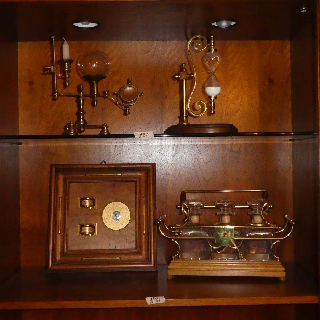 Lot # 81 - Barometer (Made in Italy), Scientific Instrument Decor, Hourglass Sand Timer & Decanters Set (Made in Italy) (main image)
