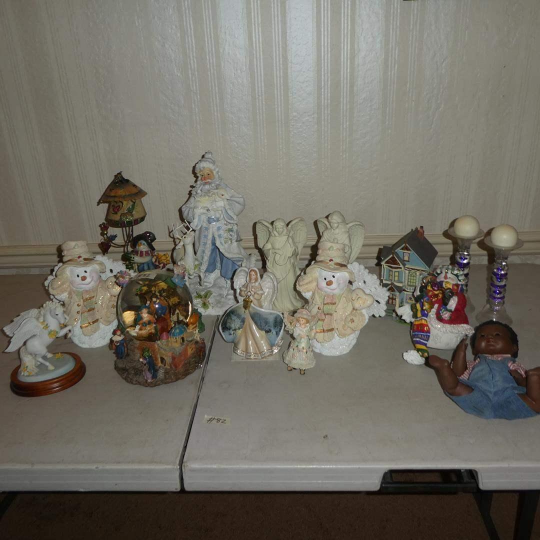 Lot # 82 - Christmas Figurines, Snow Globe & Signed 1978 Black Baby Doll (Germany) (main image)