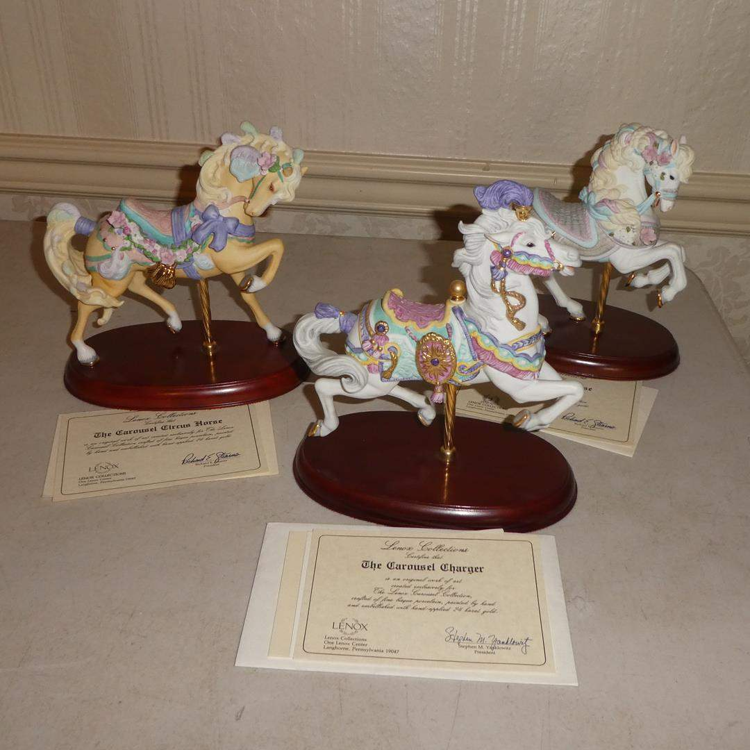 Lot # 84 - Lenox Collections Carousel Horse Figurines w/Certificates of Authenticity (main image)