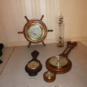 Lot # 90 - Thermometers, Barometer & Ship Wheel Wall Clock
