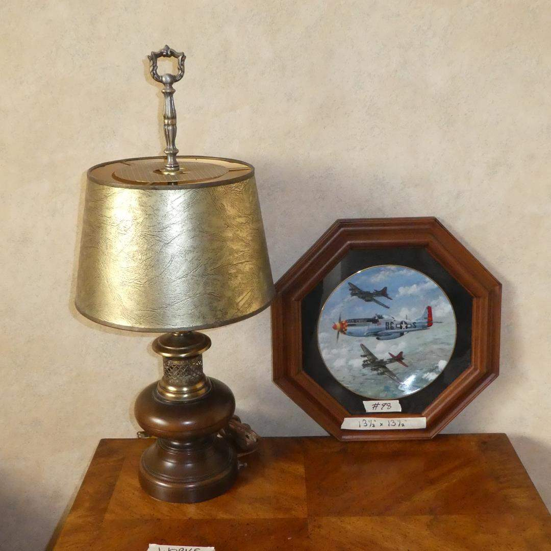 """Lot # 98 - Metal & Wood Desk Lamp & Framed """"Old Crow"""" Great Fighter Planes of WWII Collector Plate (main image)"""