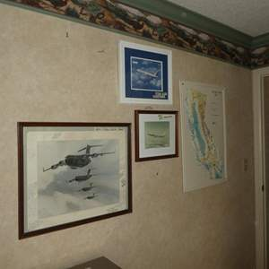 Lot # 101 - Framed Aircraft Print, Two Framed McDonnell Douglas Aircraft Photos & 3 Dimensional Wall Map
