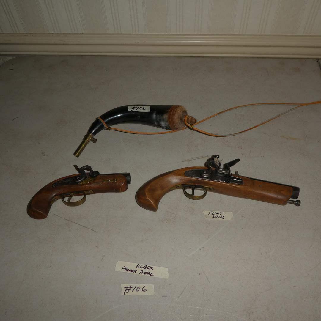 Lot # 106 - Antique Black Powder Percussion Pistol (Trigger Spring Broken), Flintlock Pistol & Powder Horn (main image)