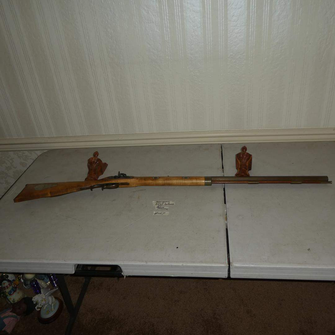 Lot # 107 - Antique Black Powder Percussion Rifle & Two Wall Hangers (main image)