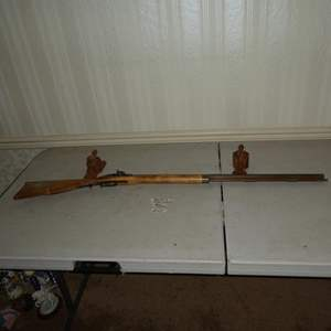 Lot # 107 - Antique Black Powder Percussion Rifle & Two Wall Hangers