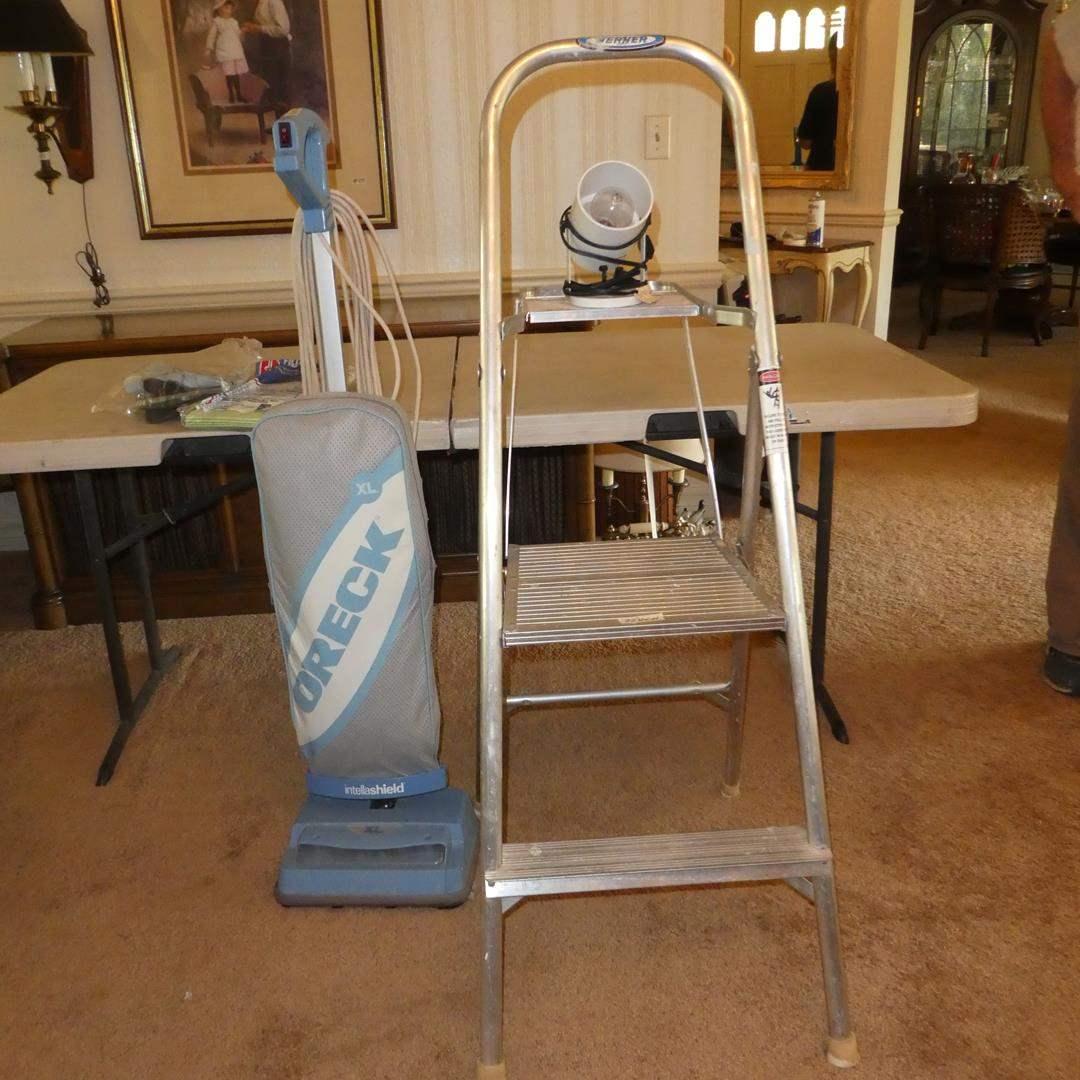 Lot # 108 - Oreck XL Vacuum, Small Industrial Light & Werner Stepstool (main image)