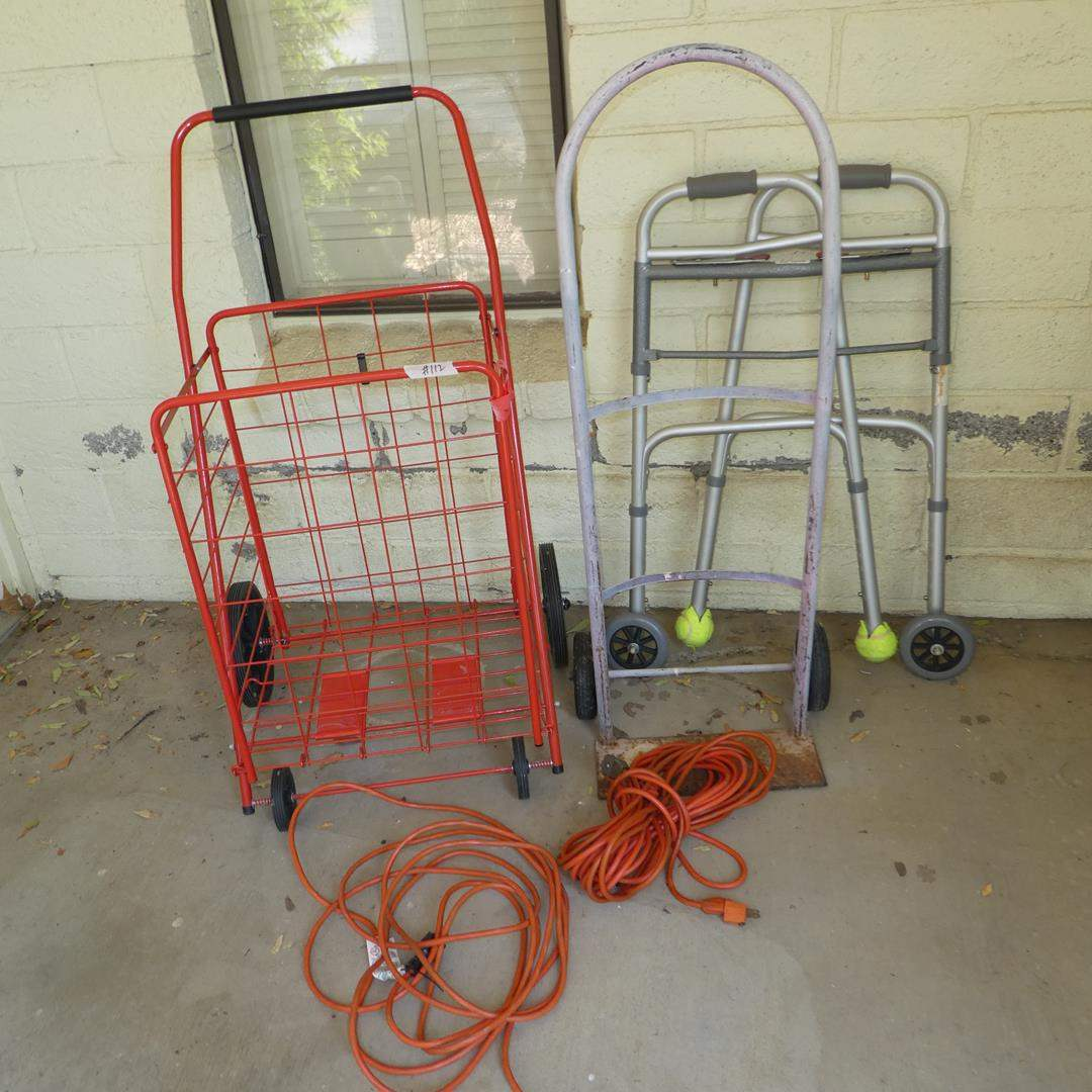 Lot # 112 - Rolling Cart, Hand Truck, Walker & Extension Cords (main image)