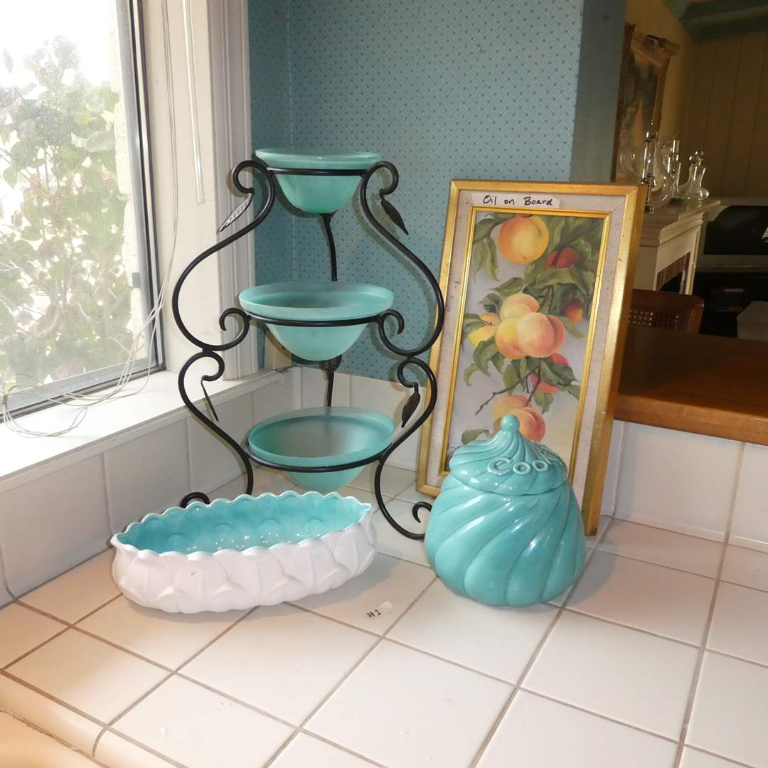 Lot # 1 - Three Tier Serving Stand, Cookie Jar, Painting (main image)