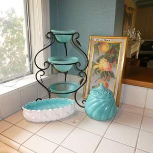 Lot # 1 - Three Tier Serving Stand, Cookie Jar, Painting
