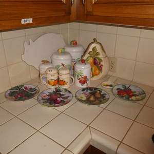 Lot # 2 -Vintage Counter Top Canisters And Decorative Plates