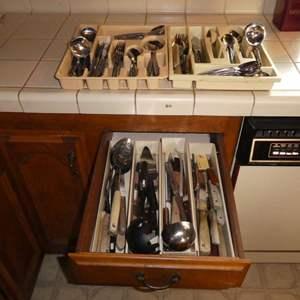 Lot # 6 - Large Assortment Of Silverware & Utensils