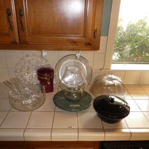 Lot # 9 - Misc. Serving Bowls & Plates With Marble Lazy Suzanne
