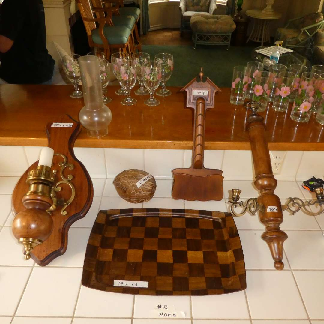 Lot # 10 - Wood Mounted Lantern, Wood Mail Sorter, Wood Candle Sconce, Wood Tray (main image)