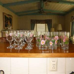 Lot # 11 - Franciscan Desert Rose Drinking Glasses