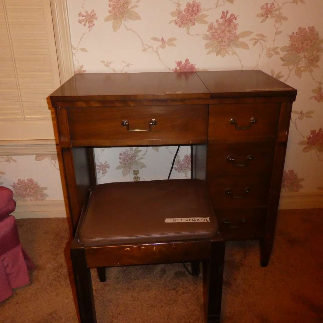 Lot # 18 -Vintage Singer Sewing Machine With Stool & Sewing Accessories   (main image)