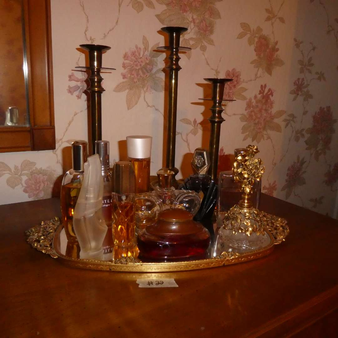 Lot # 22 - Vintage Perfumes On A Mirror & Brass Candle Holders (main image)