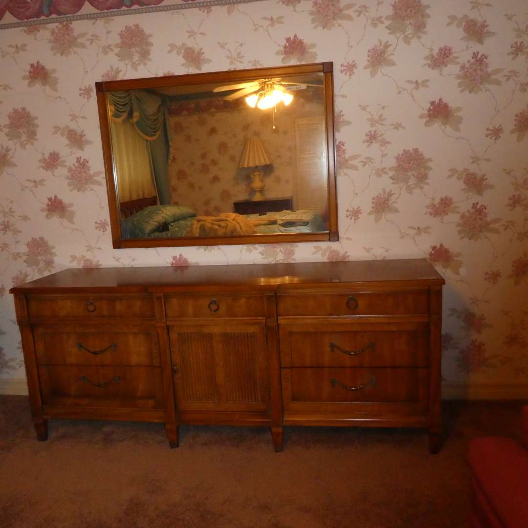 Lot # 23 - Mid Century Wood Dresser With Mirror (main image)