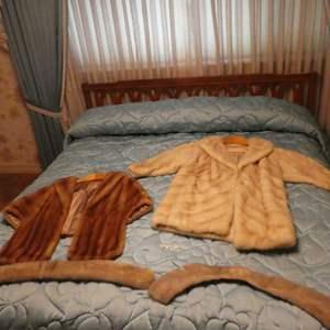 Lot # 25 - Vintage Fur Coat, Shawl, And Collars