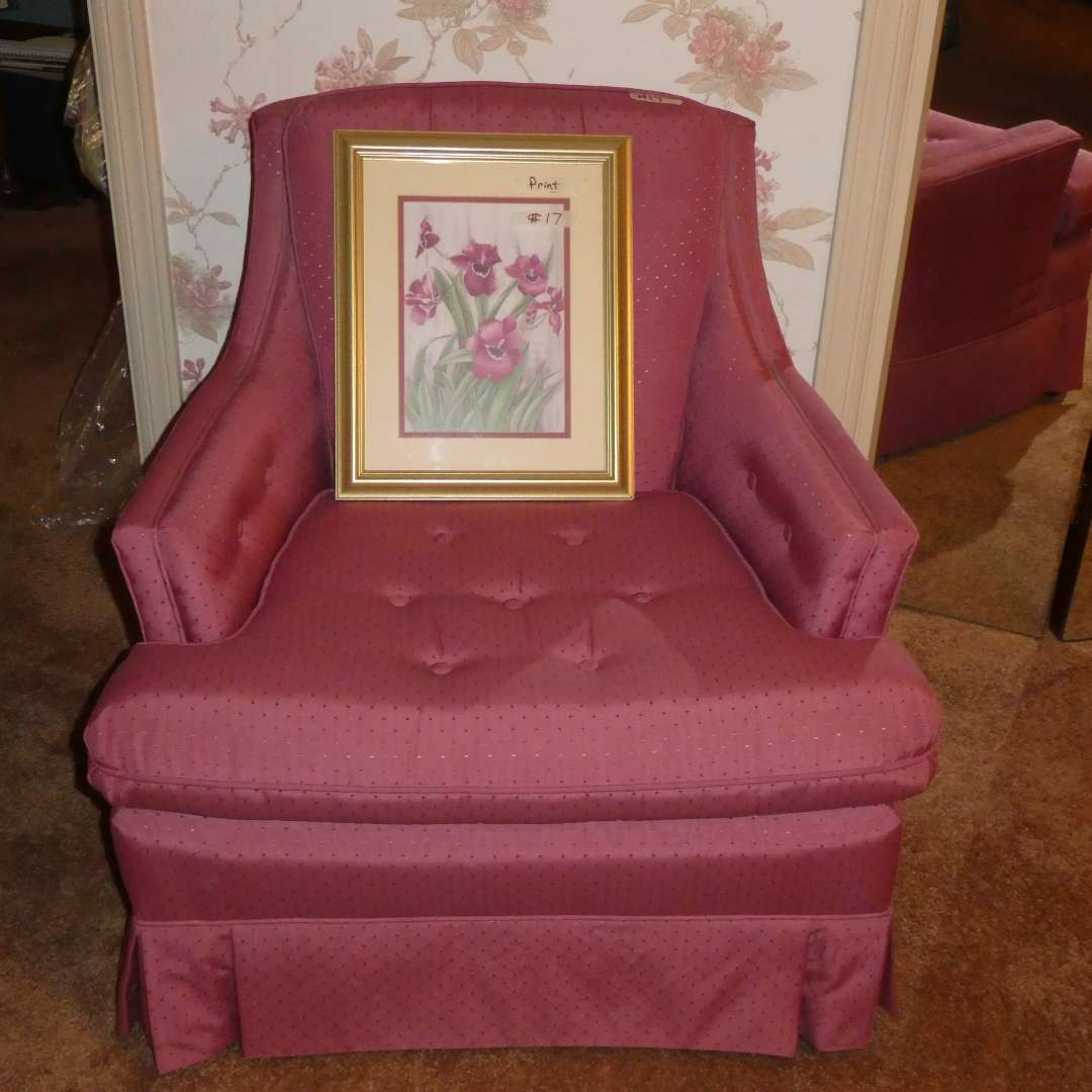 Lot # 17 -Pink Mid Century Chair With Out Arm rest Covers (main image)