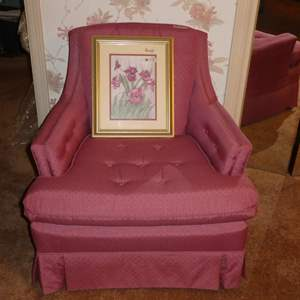 Lot # 17 -Pink Mid Century Chair With Out Arm rest Covers