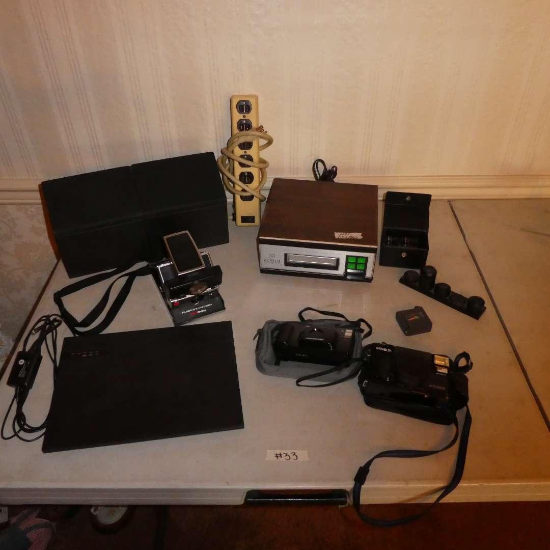 Lot # 33 - Vintage 8 Track Player, Speakers, 35mm Cameras, Polaroid camera, Camera Lenses (main image)