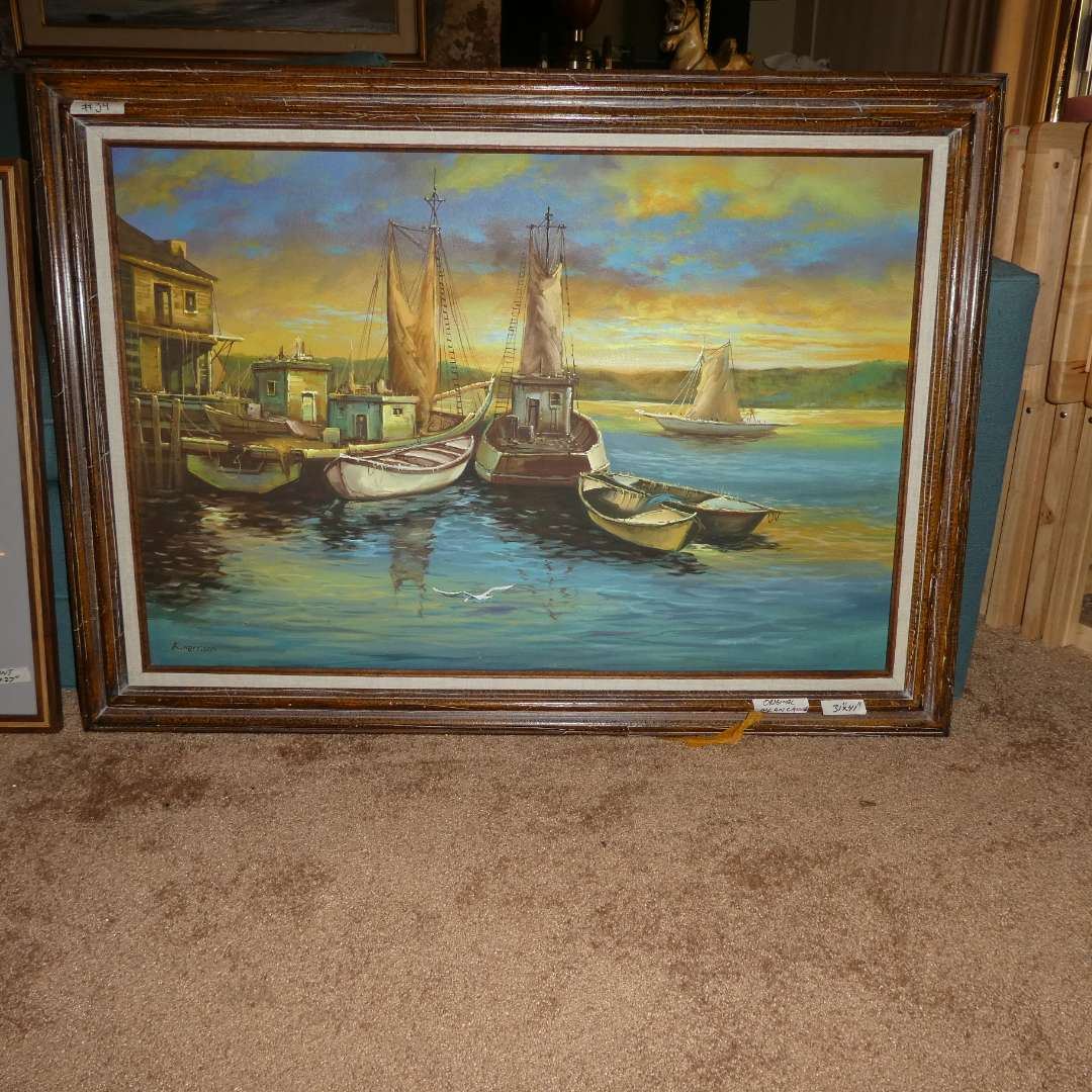 Lot # 34 - Two Seascape Pictures (oil of canvas and a print) (main image)