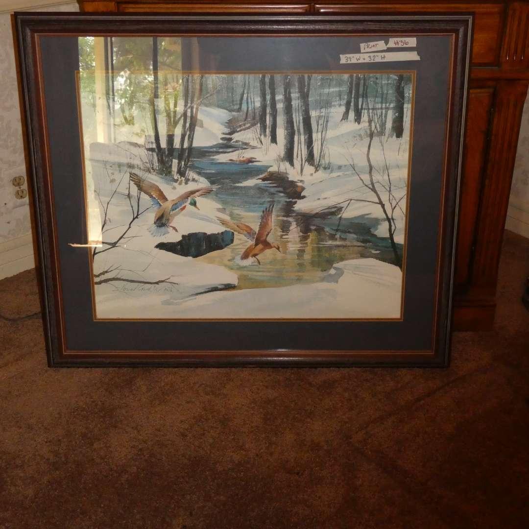Lot # 36 - Large Print of Water Fowl Scene (main image)
