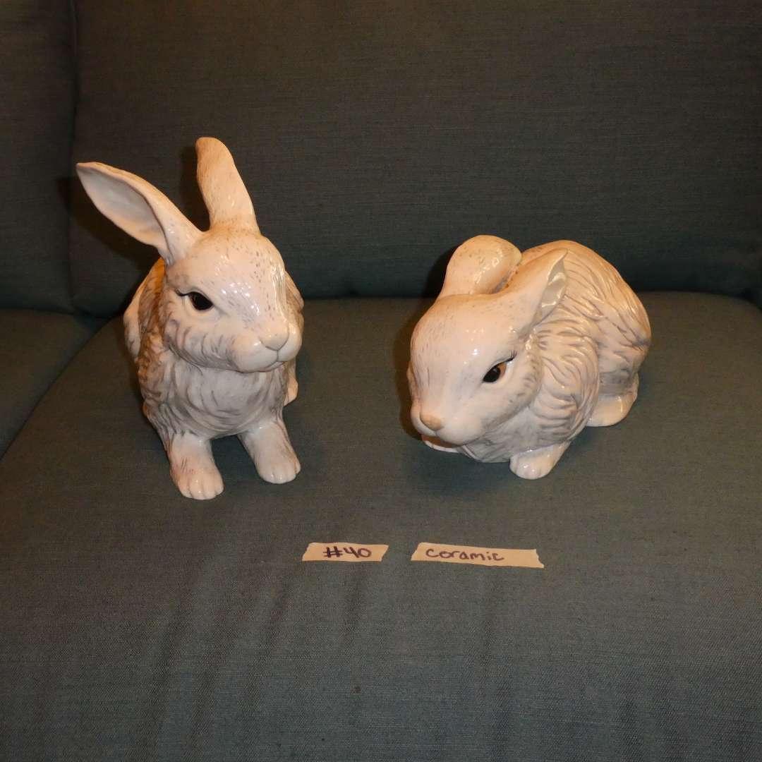Lot # 40 - Two Ceramic Rabbit Statues (main image)