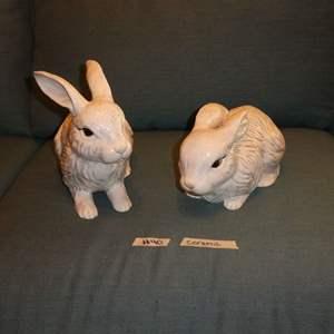 Lot # 40 - Two Ceramic Rabbit Statues