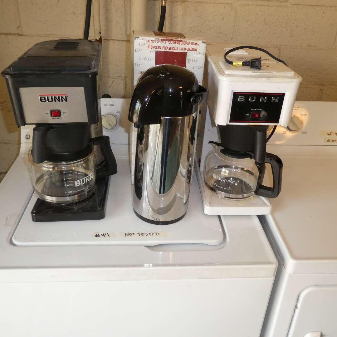 Lot # 44 - Old BUNN Coffee Makers & Gevalia Kaffe Airport Vacuum Bottle (main image)