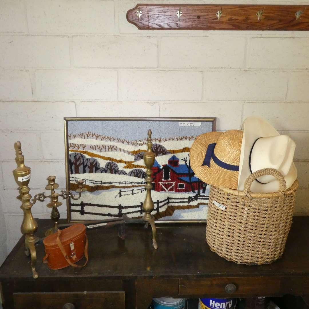Lot # 43 - Yarn Art, Andirons, Vintage Binoculars, Hats, A Basket, and a candelabra  (main image)