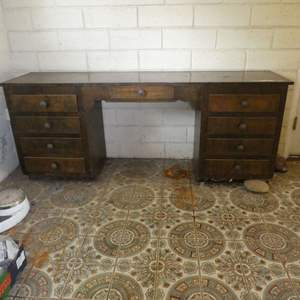 Lot # 49 - Large Desk With Drawers Full Of Misc.