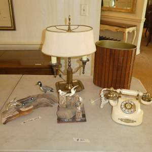 Lot # 182 - Vintage Rotary Phone, Mid Century Waste Bin, Brass Desk Lamp & Petrified Wood Art