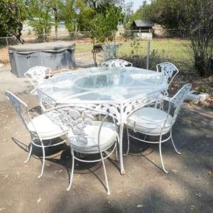 Lot # 199 -Vintage Woodard Pomegranate Pattern Wrought Iron Garden/Patio Octagonal Dining Table w/ Glass Top & 6 Chairs