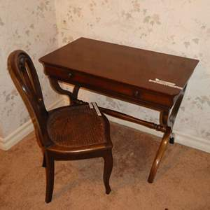 """Lot # 251 - Super Cool Vintage """"French Writing Desk"""" & Chair"""