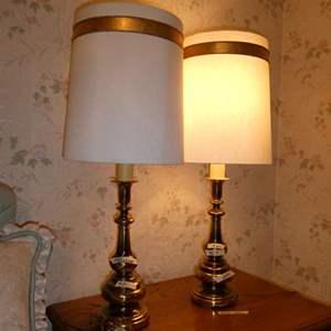 Lot # 252 - 2 Vintage Brass Lamps