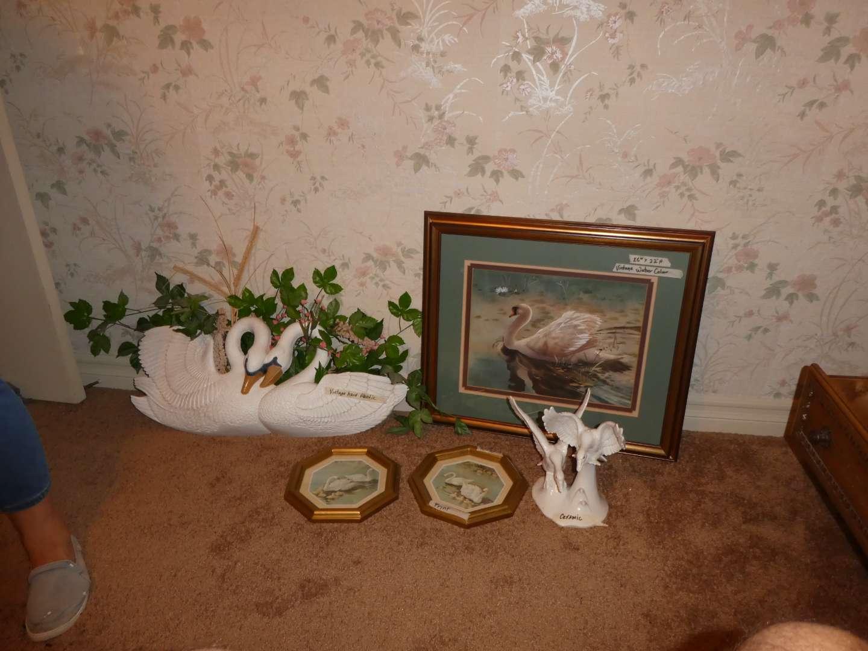 "Lot # 258 - Beautiful Original ""Swan"" Watercolor & Vintage Swan Décor (main image)"
