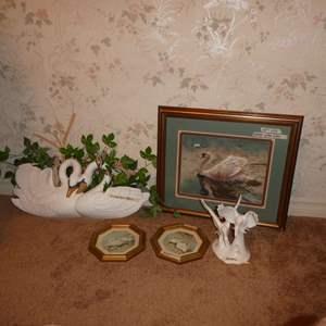 "Lot # 258 - Beautiful Original ""Swan"" Watercolor & Vintage Swan Décor"