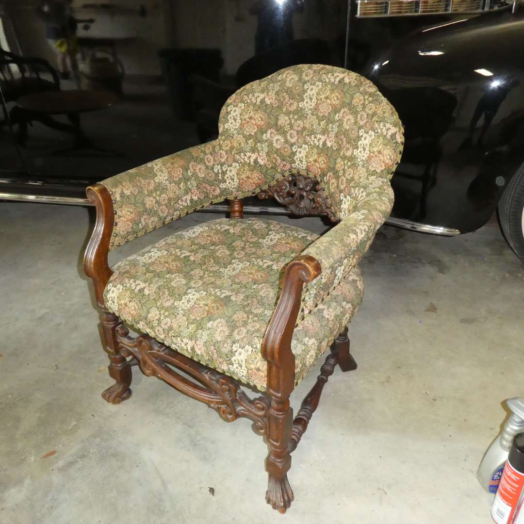 Lot # 260 - Vintage Accent Armchair w/ Great Wood Detail  (main image)