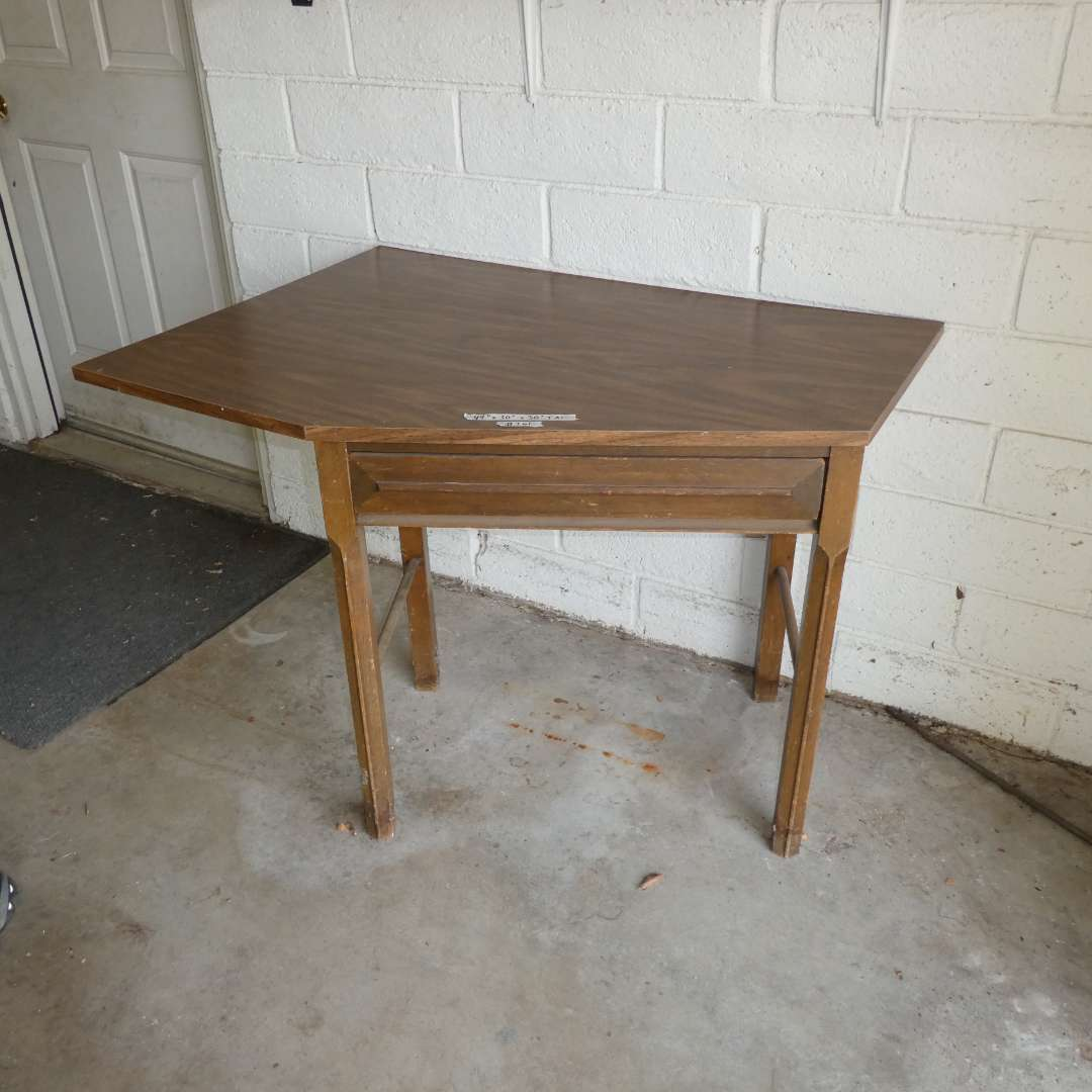 Lot # 261 - Angled Desk/ Sewing Table w/ Dovetail Drawer  (main image)