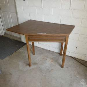 Lot # 261 - Angled Desk/ Sewing Table w/ Dovetail Drawer