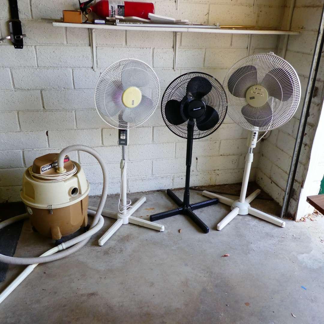 Lot # 262 - Three Pedestal Fans & Bissell Carpet Machine  (main image)