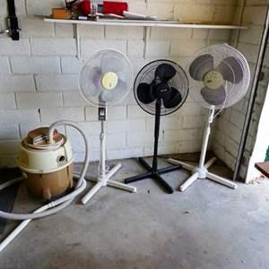 Lot # 262 - Three Pedestal Fans & Bissell Carpet Machine